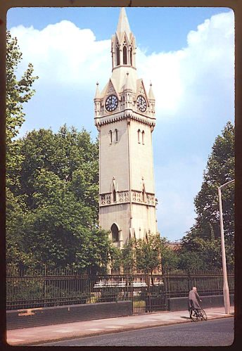 The clocktower in St Mary's churchyard, Newington Butts, London. [Source: Charles W. Cushman http://webapp1.dlib.indiana.edu/cushman/ with permission]