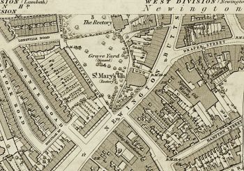 The site of St Mary's church and its rectory, Newington Butts, London in 1871. [Source: Ordnance Survey, LV (Lambeth St Mary; Southwark) Surveyed: 1871 Published: 1875]
