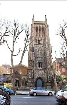 St Mary Newington, London, seen from Kennington Park Road . c.2000