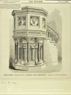 Pulpit (1868; no longer present), designed by George Gilbert Scott for St Matthias Stoke Newington, church. Source: The Builder, 6/6/1898.