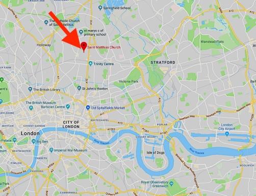 The location of St Matthias Stike Newington, London N16.