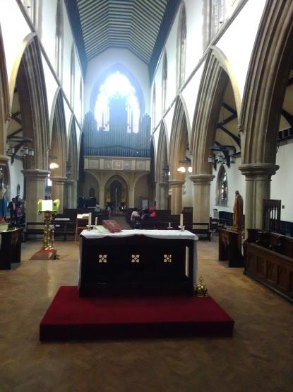 Interior looking east at St Matthias Stoke Newington, London N16.