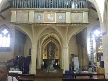 Detail of the rgan gallery at St Matthias Stoke Newington, London N16.