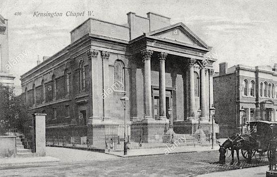 Kensington Chapel, Allen Street, London W8. Postcard c.1909. [Source: Alamy G3CP58]