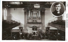Postcard of the Kensington Chapel, Organ & Rev.Thomas Yates, c.1908. Photograph: J Beagle