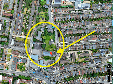 Aerial view of the grounds of St Matthias Stoke Newington, London. 2019, [Source: Google Maps]