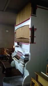 The pipe organ, c.1867-96, by Bevington and Sons, Rose Street, Soho, London.