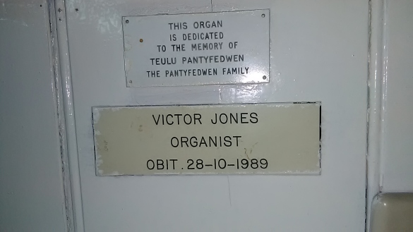Memorial plates on the pipe organ, c.1867-96, by Bevington and Sons, Rose Street, Soho, London.