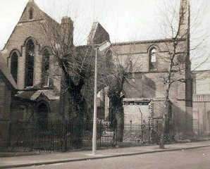 The bombed-out church of St Thomas Kensal Town, London W10 (UK); north side.