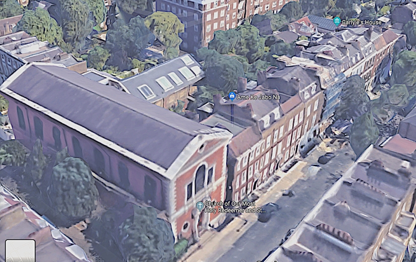 Location of the church of Our Most Holy Redeemer & St Thomas More, Chelsea, London (UK).
