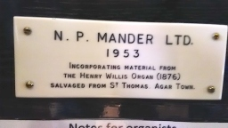Builder's plate on the organ in St Clement's Church, King Square, London EC! (UK)