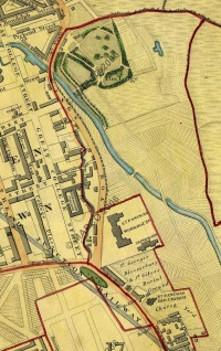 Map (post 1820) showing the location of Elm Lodge.