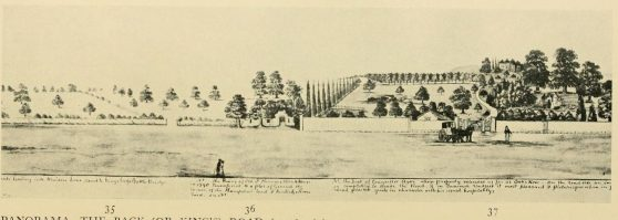 A view from the east (before 1845) of the ruined Old St Pancras church with Elm Lodge to the north