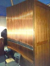 The pipe organ in Haggerston Priory, London UK
