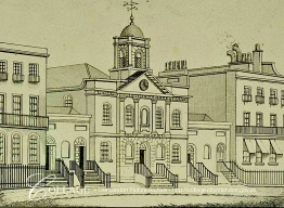 The Union Chapel, Compton Terrace, Islington, London UK (c.1820). Engraving by C. Rivers (?-?). [Source: collage.cityoflondon.gov.uk]